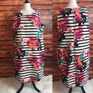Talbots woman striped & floral sheath dress